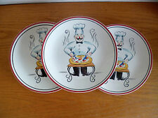 Tabletops Lifestyles  3 Pizza Plates  C   Chef Cutting Pizza  Pie   9 1/4""