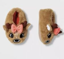 Christmas Reindeer Slippers Girls Toddler Size 4T - 5T Large New Deer Pjs