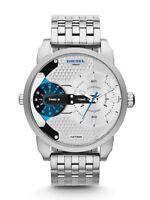 New Diesel DZ7305 Mens Mini Daddy Designer Silver Watch