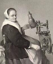 SPINNERIN - Originallithographie von Hanfstaengl 1835!!