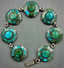 Vintage Navajo Danny J. Stewart RARE Kingman Turquoise Inlay Silver Bracelet