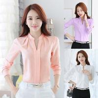 Women T-Shirts Long Sleeve Casual Elegant Chiffon Blouse V-Neck Office Shirts VA