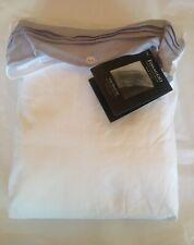 Fissaggio Luxury White Cotton Percale Gray Linen Border King Sheet Set