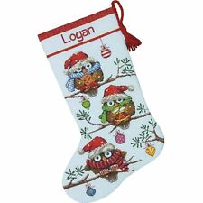COUNTED CROSS STITCH Christmas Stocking KIT Holiday HOOTIES Owl Dimensions 16""