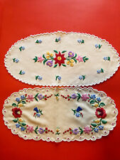 2 pieces Vintage Hungarian handembroidered doily,centerpiece w. Kalocsa flowers
