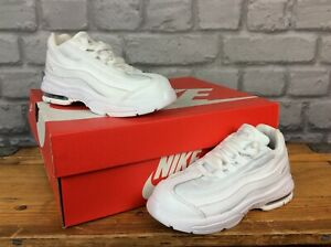 NIKE AIR MAX 95 TRIPLE WHITE TRAINERS CHILDRENS INFANTS VARIOUS SIZES T
