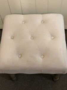 Velvet Creamy Beige Button Tufted French Provincial Footstool Ottoman