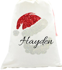 Personalised santa sack kids your name Christmas glitter santa face sparkle