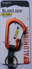 Nite Ize SlideLock Orange Classic Key Ring Aluminum Nylon Strap CSLAW3-19-R6 NEW