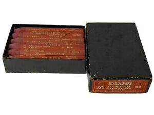Vintage Box Of Dixon Lumber Crayons 520 Red - One Dozen Made In USA Jersey City