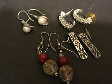 Earrings Faux Pearl Rhinestone Lot Of Four Pair Pierced