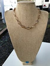 HDMD by Cyndi  Necklace of Honey Quartz Glass, Golden Crystal, and Bronze Metal