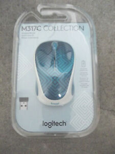 NEW-Sealed Logitech - M317 Design Collection Wireless Mouse Teal Maze 910-005838