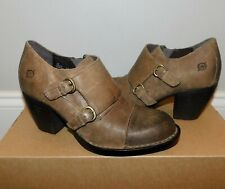 NEW Womens BORN DAVIS TAUPE DISTRESSED SUEDE OILED LEATHER HARNESS BOOTS SHOES 7