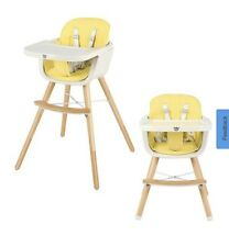3 in 1 Convertible Wooden High Chair Baby Toddler Highchair w/ PU Cushion Yellow