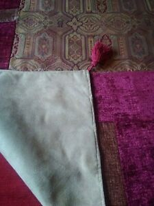 "Vintage Laura Ashley Tamarind burgundy patchwork designer throw measuring 69""x42"