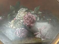 Superb 19th Oil Painting  Pink & White Roses In A Chinese Porcelain Bowl