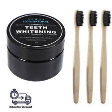 3x Bambus Zahnbürsten bio nachhaltig + Aktivkohle Zahnpulver zahnweiss bleaching