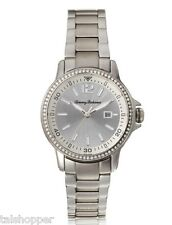 NEW TOMMY BAHAMA ISLAND BREEZE Crystal Baguettes Silver Watch Quartz