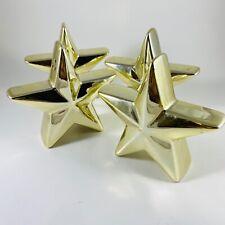 4 gold shiny metallic star salt and pepper shakers Pop Art