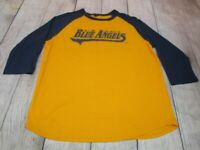 NICE US Navy Blue Angels Jet Yellow 1/2 Sleeve Baseball T-Shirt Men's Large