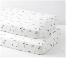 NEW Pottery Barn Baby Dakota Organic Fitted Crib Sheet Fox Forrest Animals