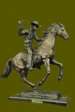 Vintage Cast Metal Bronze Copper Horse and Cowboy Trophy Arts Statue Figure Gift