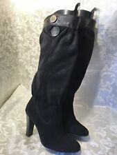Michael Michael Kors Womens Knee High Heels Boots Black Suede Leather Size 7.5M