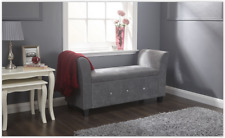 Shabby Chic Storage Seat Bench Hall Furniture Bedroom Vintage Ottoman Entry Grey