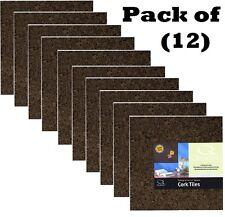 "(12) Acco 15050Q 4 Pack 12"" x 12"" Self Stick Dark Cork Bulletin Board Tiles"