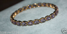Ross Simons 18k Yellow gold vermeil sterling silver 25 Amethyst Bangle Bracelet