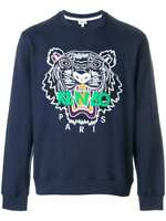 Kenzo Icons Tiger Embroidered Cotton Logo Sweatshirt Jumper Navy Blue Large