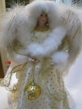 Christmas Angel - Gold & White Tabletop or Tree Topper W/ Feather Wings 17�