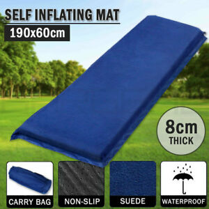 Self Inflating Mattress Sleeping Suede Mat Air Bed Camping Hiking Joinable Blue