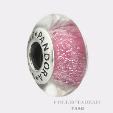 Authentic Pandora Silver Disney Anna Pink Fluorescent Murano Glass Bead 791645