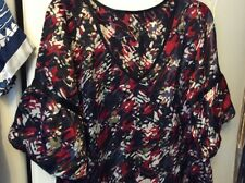Next TopsX2Blue/white print satin Silky tops Puff Fluted Sleeves size12-14 Vgc