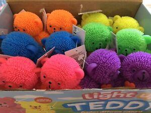 Full Case Of 12 Light Up Flashing Puffer Teddy Bear Sensory Autism Fidget Stress