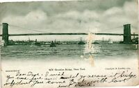 Vintage Postcard - Posted 1908 Brooklyn Bridge New York NY #3621