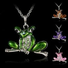Fashion Frog Crystal Rhinestone Charm Pendant Sweater Chain Necklace Costum Hot
