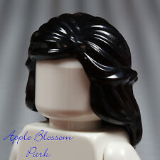 NEW Lego Female Minifig Long BLACK HAIR - Braided Castle Princess Girl Head Gear