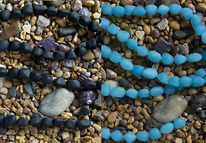 1 Strand of Frosted Matte SMALL NUGGET Beach Sea Glass Beads Black or Blue Opal