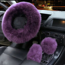 3pcs Fur Car Steering Wheel Cover Grape Purple Wool Furry Fluffy Thick Winter