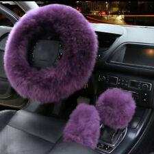 3pcs Fur Car Steering Wheel Cover Grape Purple Wool Furry Fluffy Thick Winter