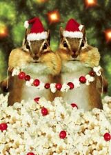 CHIPMUNKS CHRISTMAS CARD Avanti Press: Popcorn, Cranberries, Santa Hats Chipmunk