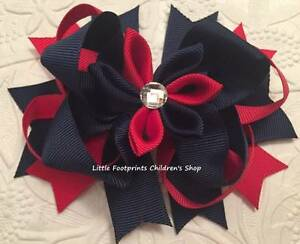 """Red & Navy Flower Hair Bow with Jeweled Center 4 1/2"""""""