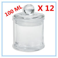 12 x Glass Apothecary Candy Jar with Lid for Candy Candle Waxing Mini 100ml AP