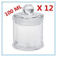 Bulk 12 Clear (100ml) Glass Multi-purpose Storage Jar Candle Jar Lolly Candy FW