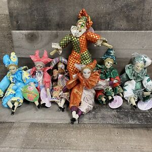Lot of 7 Vintage Sugar Loaf Mardi Gras Holiday Jester Classiques Clown Dolls NEW
