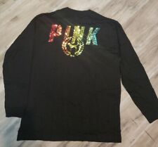 Victoria Secret PINK Rainbow Sequin Campus long sleeve Tee Large *NWT*