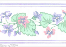Pastel Color Blue Pink Geranium Flower Floral Garland Ivy Vine Wall paper Border